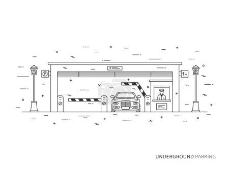 Illustration pour Illustration de vecteur linéaire de parking souterrain (terminal, pay-gate, garrot, transport). Parking souterrain bâtiment concept graphique créatif. Conception graphique de parking souterrain. - image libre de droit