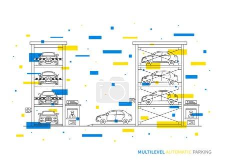 Illustration pour Illustration de vecteur linéaire de stationnement multiniveaux (terminal, logement, transports). Plusieurs niveaux de stationnement bâtiment concept graphique créatif. Conception graphique de stationnement multiniveaux. - image libre de droit