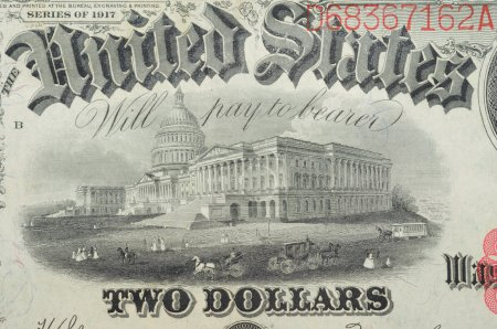 Historic banknote, White house, in two dollars USA - 1917