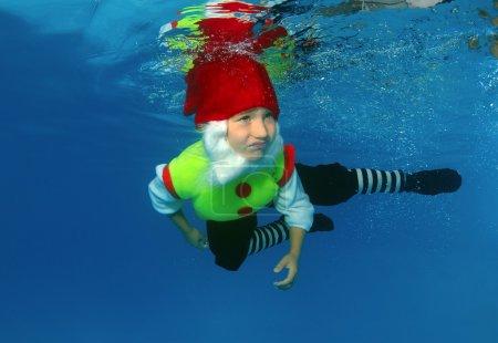 Boy presenting underwater fashion in pool