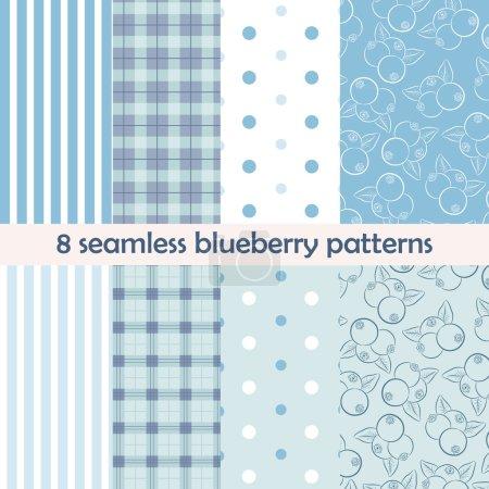 Blueberry seamless patterns
