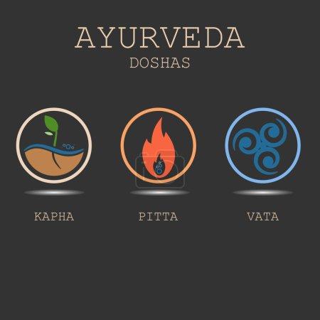 Illustration for Ayurveda doshas vector illustration on black background. Ayurvedic body types: doshas vata, pitta, kapha. Ayurvedic infographic. Healthy lifestyle. - Royalty Free Image