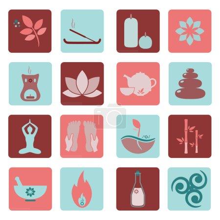 Illustration for Set ayurveda icons. Vector illustration. Ayurveda logos isolated. Design elements for ayurveda center, yoga studio, spa center. Ayurveda sticker. Beauty icons set - Royalty Free Image