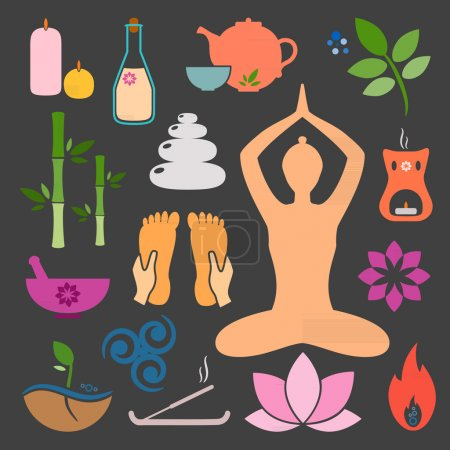 Illustration for Set ayurveda icons. Vector illustration. Ayurveda logos isolated. Design elements for ayurveda center, yoga studio, spa center. Ayurveda sticker. Beauty icons set - Royalty Free Image