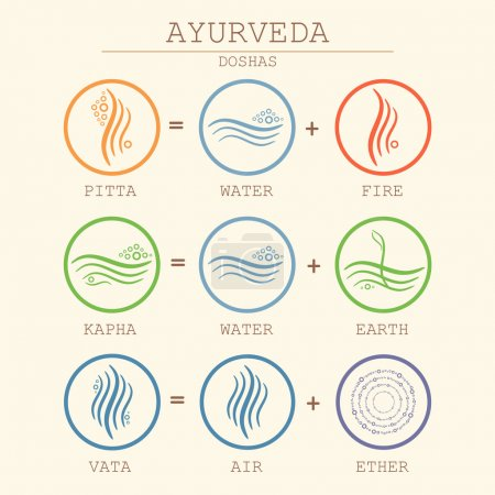 Illustration for Ayurveda equation vector illustration. Doshas vata, pitta, kapha. Ayurvedic body types. Ayurvedic infographic. Healthy lifestyle. - Royalty Free Image
