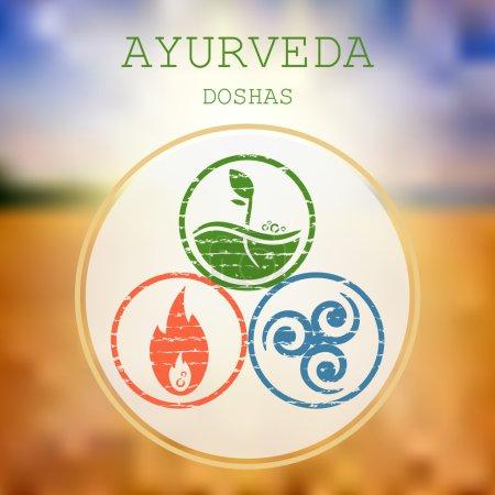 Illustration for Ayurveda vector illustration. Doshas vata, pitta, kapha. Ayurvedic body types. Ayurvedic infographic. Healthy lifestyle. - Royalty Free Image
