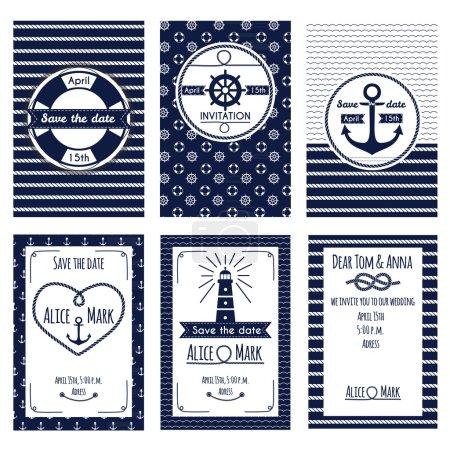 Set of nautical and marine wedding invitation