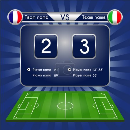 Broadcast graphic for football final score. Football Soccer Match Statistics