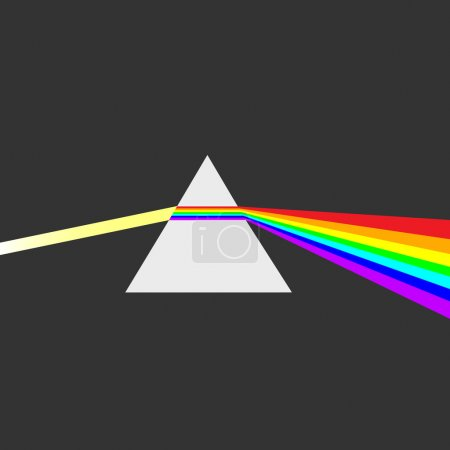 Triangular prism breaks white light ray into rainbow spectral colors