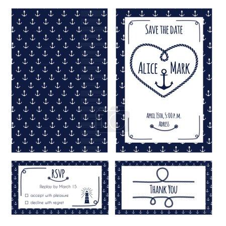 Nautical wedding invitation and RSVP card