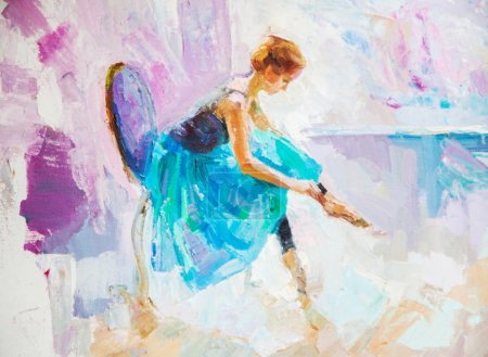 Photo pour Peinture à l'huile, fille ballerine. dessiné mignon ballerine danse - image libre de droit