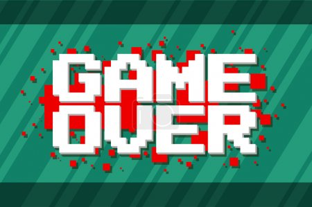 Pixel computer game over screen on red background