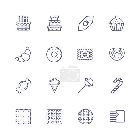 Illustration pour Icônes de ligne avec point et motif de ligne . - image libre de droit