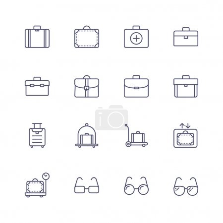 Illustration for Line icons with dot and line pattern. - Royalty Free Image