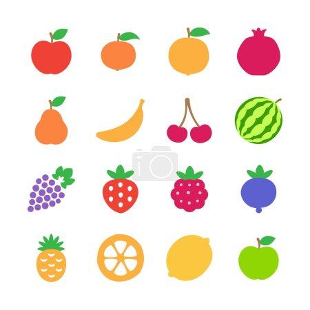 Illustration pour Fruits icônes ensemble. Illustration vectorielle - image libre de droit