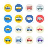 Public transport icons set Vector illustration