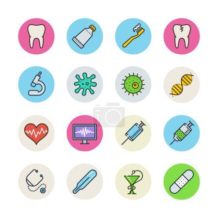 Illustration for Medicine icons set. Vector illustration - Royalty Free Image