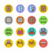 Interior and furniture icons set