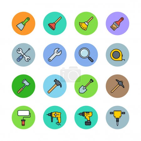 Illustration for Tools icons set. Vector illustration - Royalty Free Image