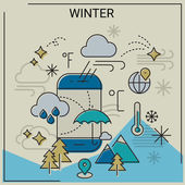 Weather and seasonal conceptual banners for mobile apps Winter Line bold design vector illustration online web banner