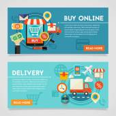 Shopping and Delivery concept banners