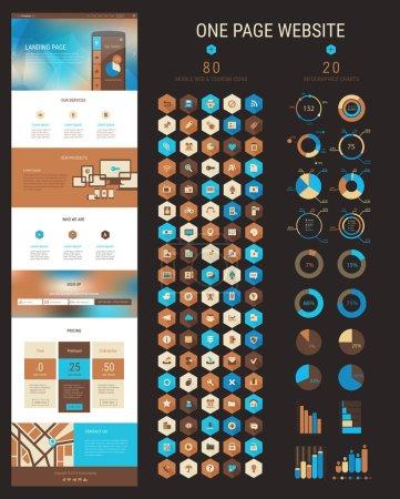 Illustration pour Page de destination sensible ou modèle de site Web une page au design plat avec fond moderne en-tête polygonale floue et 80 icônes hexagonales et 20 infographie packs - image libre de droit
