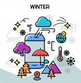 Weather and seasonal conceptual banner for mobile apps Winter Line bold design vector illustration online web banner