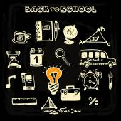 Doodle vector school and educational icons on blackboard vector illustration
