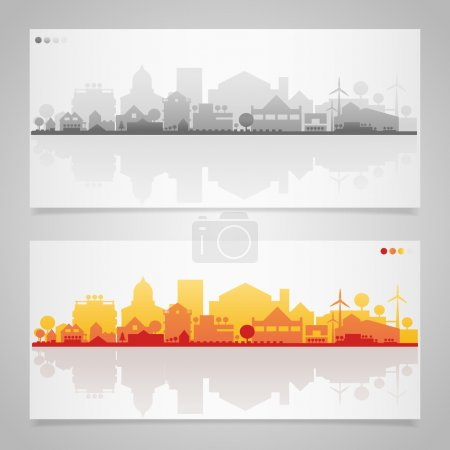 Illustration for Small town or village silhouettes. Multicolored collection - Royalty Free Image