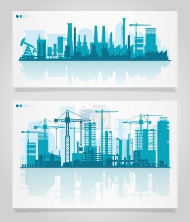 Photo pour Paysage urbain se déroule avec différentes parties d'une ville. Petites villes ou banlieues et silhouettes du centre-ville, illustration vectorielle - image libre de droit