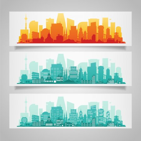 Illustration for Cityscapes ses with various parts of a city. Vector illustration - Royalty Free Image