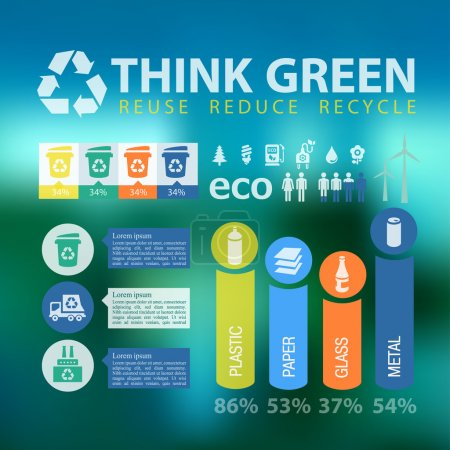 Illustration for Waste segregation and recycling infographics with elements. Vector illustration - Royalty Free Image