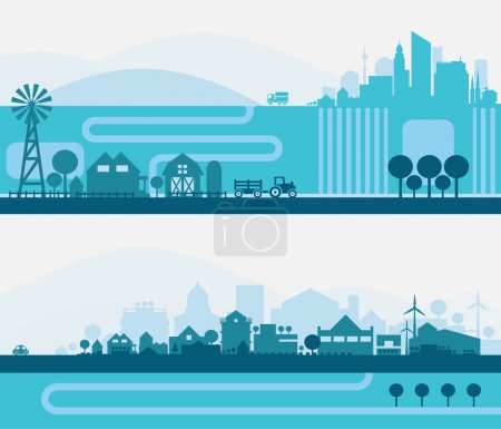 Illustration for Horizontal banners skyline Kit with various parts of city - factories, refineries, power plants and small towns or suburbs. Illustration divided on layers for create parallax effect.Vector illustration - Royalty Free Image