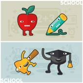 Education and school conceptual banners for mobile apps Flat design vector illustration online web banners Cute funny kawaii characters
