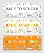 Vector Material Doodle Banners Concept Back To School