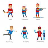 Set sportsmen winter sport on a white background