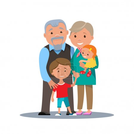 Grandparents family with grandchildren isolated.