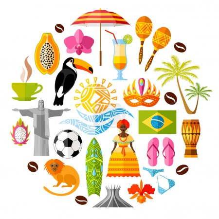 Set of Brazilian icons in the flat style. Vector symbols and design elements.