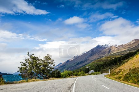 Mountain road on sunny day