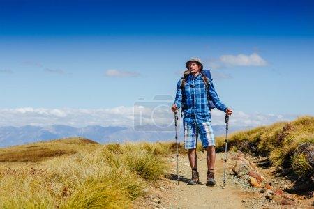 Young hiker looking at the horizon