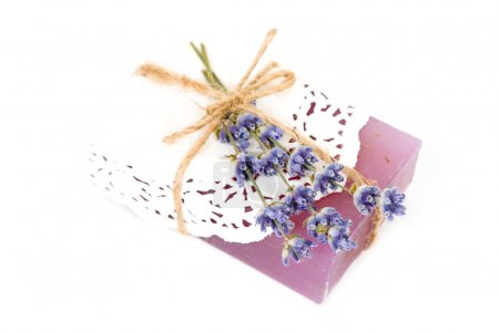 soap with blue lavender flowers