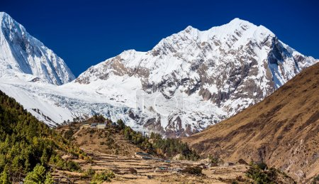 Photo for Himalaya mountains covered in snow in the Cho Oyu mountain range. - Royalty Free Image