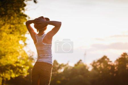 Photo for Free Happy Woman Enjoying Nature. Freedom concept. Enjoyment - Royalty Free Image