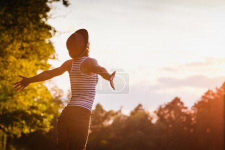 Photo for Free Happy Woman Enjoying Nature. Freedom concept. Enjoyment - Royalty Free Image