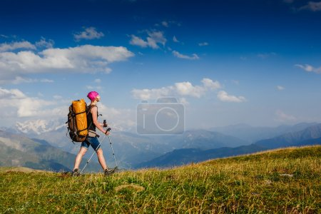 Photo for Woman Traveler with Backpack hiking in the Mountains - Royalty Free Image
