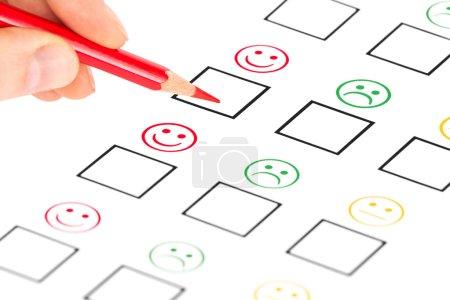 Photo pour Questionnaire de satisfaction client. commercialisation ou un concept d'affaires - image libre de droit