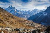 Beautiful view of mount Ama Dablam and Khumbu valley with beautiful sky on the way to Everest base camp, Sagarmatha national park, Everest area, Nepal
