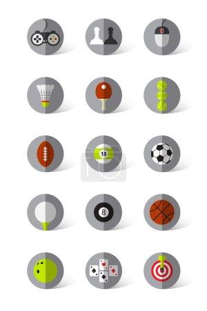 Photo pour Icônes plates jeux sur fond gris . - image libre de droit