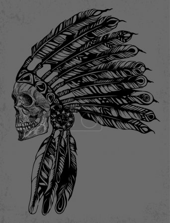 Illustration for Indian Skull Vector Illustration Design for apparel. Easy to manipulate, re-size or colorize. - Royalty Free Image