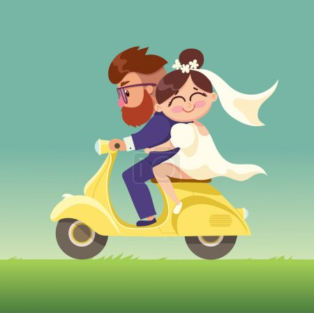 The newlyweds go on a moped.